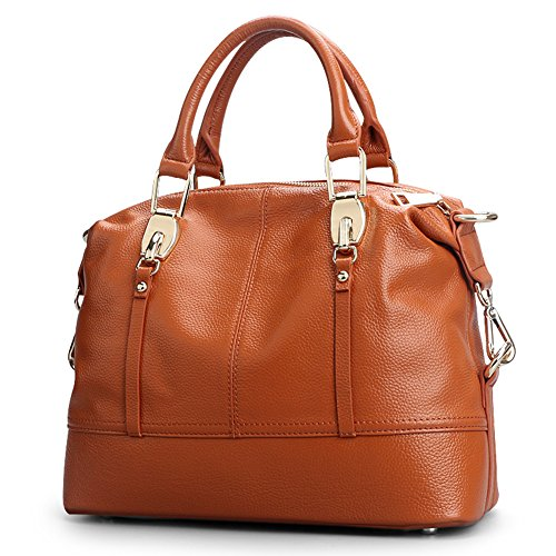 Qiwang Genuine Leather Luxury Style Soft Tote Top Handle Shoulder Crossbody Bag Satchel Purse Handbag for Women (Brown) by Qiwang