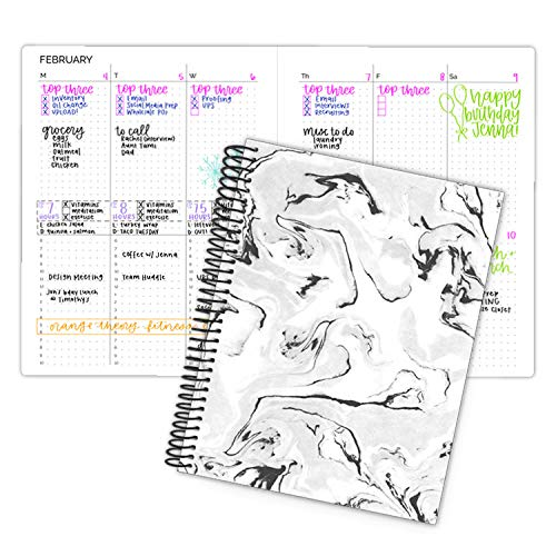 bloom daily planners Undated Dot Journaling Calendar Planner - Essential Weekly/Monthly Grid Style Agenda Book (7