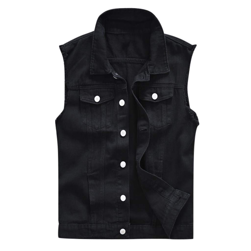 Men's Denim Vest Casual Cowboy Jacket in Shoulder Blouse Black by HJuyYuah
