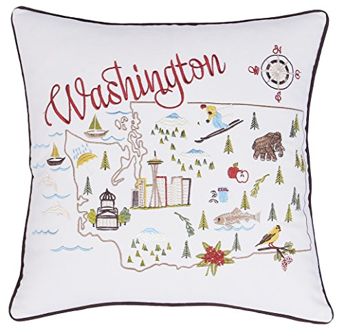 Washington Pillow (DecorHouzz Pillow Covers State/City Map Pillowcase embroidered cushion cover Birthday Gift Anniversary Gift Graduation Gift New home Gift 18