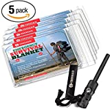 Emergency Survival Blanket 5 Pack - Mylar Thermal Blankets & Magnesium Survival Fire Starter with Compass & Emergency SOS Whistle – Ideal Cold Weather Survival Kit