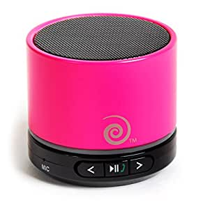 Portable Bluetooth 4.0 Mini Speaker ● Apple, Samsung, Mobile & Cell Phone Compatible ● High Quality Wired Speakerphone with Sound Amplifier for Hands-Free Calling by bePowered® ● Neon Hot Pink