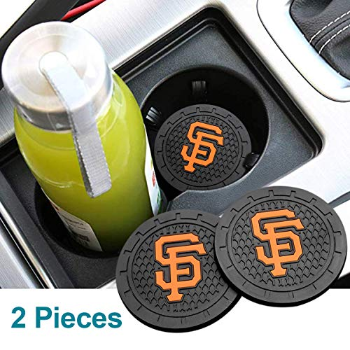 Auto Parts 2PCS 2.75 Inch with American Baseball Team logoTough Auto Cup Holder Mat Anti Slip Coaster Durable Car Interior Accessories for All Brands of Cars (San Francisco Giants)