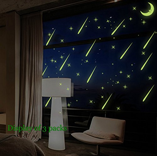 Glow in the Dark Luminous Meteor Shower Wall Stickers, Moons Stars and Meteors, 2 - Star Meteor