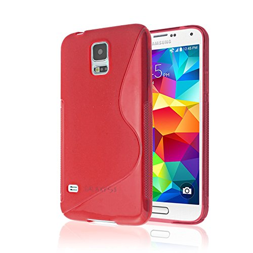 Samsung Galaxy S5 Case, [RUBBER] Galaxy S5 Case, by Cable and Case(TM) - Transparent Purple Non-Slip Soft Jelly Cover With Vibrant Trendy Colors And Sure Grip Texture (Galaxy S5) (RED)
