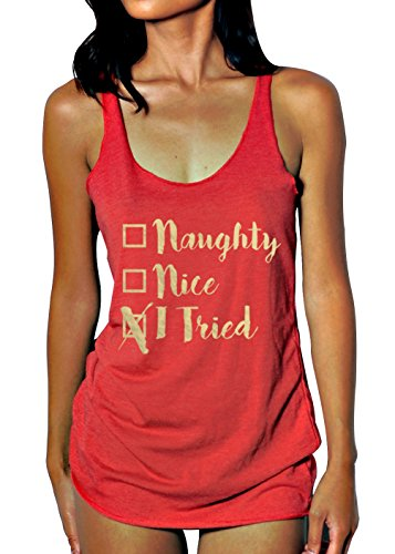 Emdem Apparel Naughty Nice I Tried Funny Christmas Womens Tank Top RED ()