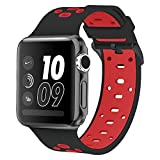 Band for Apple Watch 42mm, Alritz [Patent Pending] Silicone Sport Strap Replacement Wristband Bracelet for Apple Watch Nike+, Series 2, Series 1, Sport, Edition, Black & Red