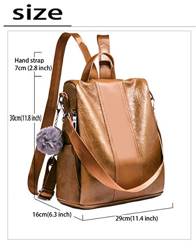 for Brown by Girls Tote Backpack Shoulder Bags Pu Women Cute Ladies Soft Leather HopeEye Z1qwPx6HzO