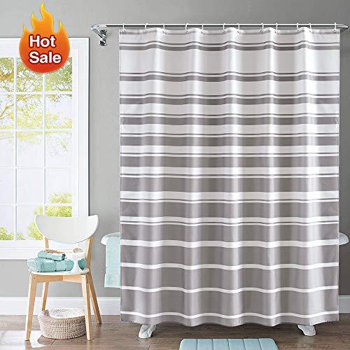ARICHOMY Shower Curtain for Bathroom Farmhouse Stripe Fabric Set with White Gray Pattern, Water-Repellent Classic Shower Curtains, 72 X 72 (Shower Curtains Grey Bathroom)