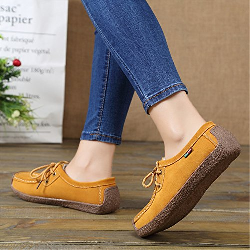 Shoes Casual Sneakers Fur Loafers Yellow Flats Lined Women's Snail Leather Winter Lace Up qt6gYx1