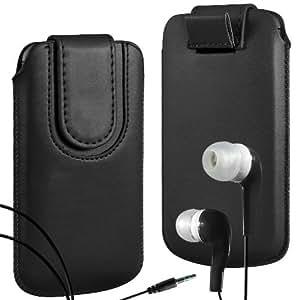 Direct-2-Your-Door - Vodafone Smart 4 Turbo superior de la PU del cuero del caso del tirón de la bolsa con pestaña cierre magnético y Coincidencia Auriculares ergonómicos - Negro