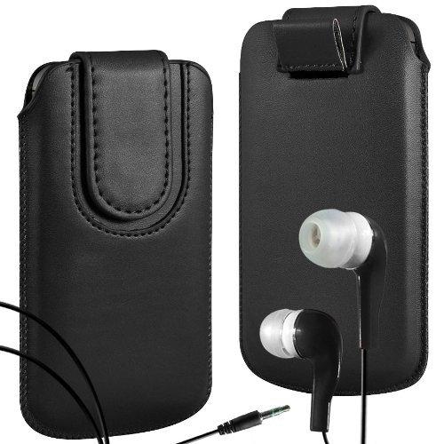 N4U Online - Apple iPhone 3G haut de gamme en cuir PU Pull Retourner Tab Housse Couverture avec sangle fermeture magnétique et assortis intra-auriculaire - Noir