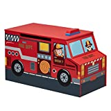 Fantasy Fields Little Fire Fighters themed Kids Wooden Toy Chest with Safety Hinges Hand Painted Details Lead Free Paint