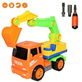 Dibang Engineering Vehicles Assemble Disassemble Building Construction Puzzle Car Toy with Tools for 3 Year Old Boys