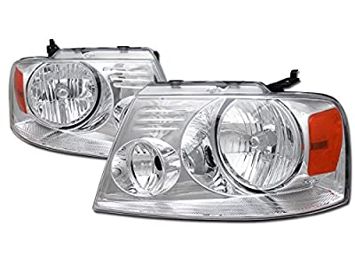 VXMOTOR - Crystal Chrome Head Lights Lamp Signal Amber Left+Right Dy 04-08 Ford F150 Truck