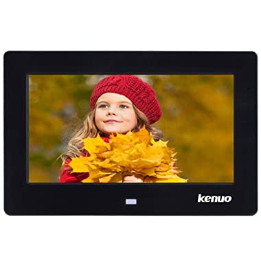 Digital Photo Frame 7 inch,Kenuo High HD 1024x600(16:9) Eletronic Photo Frame with Video Player Stereo MP3 Calendar Auto On/Off Timer - Black