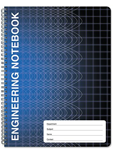 """BookFactory Computation Engineering Notebook - 100 Pages (9 1/4"""" X 11 3/4"""") - Scientific Grid Pages, Durable Translucent Cover, Wire-O Binding (COMP-100-CWG-A-(Engineering))"""