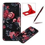 Rubber Case for Samsung Galaxy S8 Plus,Black TPU Case for Samsung Galaxy S8 Plus,Herzzer Pretty Red Rose Design Diamond Frame Bumer Dust Resistant Soft Flexible TPU Bling Glitter Protective Case for Samsung Galaxy S8 Plus + 1 x Free Red Cellphone Kickstand + 1 x Free Claret-Red Stylus Pen