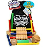 Matty's Toy Stop 11 Pieces Wooden Play Dough & Clay Tools Set with Storage Bag
