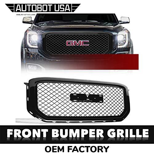AutobotUSA Glossy Black Front Grill Hood Bumper Grille Mesh 2015-2018 for GMC Yukon/Xl/Denali ()