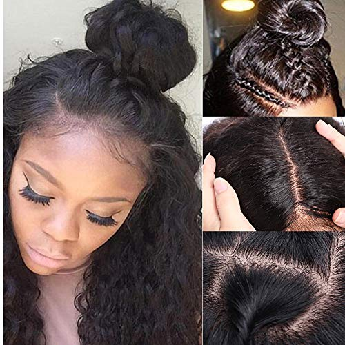 Silk Base Full Lace Wig Human Hair With Baby Hair Pre Plucked Silk Top Lace Wig Natural Hairline Glueless Virgin Human Hair Wig Deep Wave for Black Women 1B Natural Black 10''/10inch