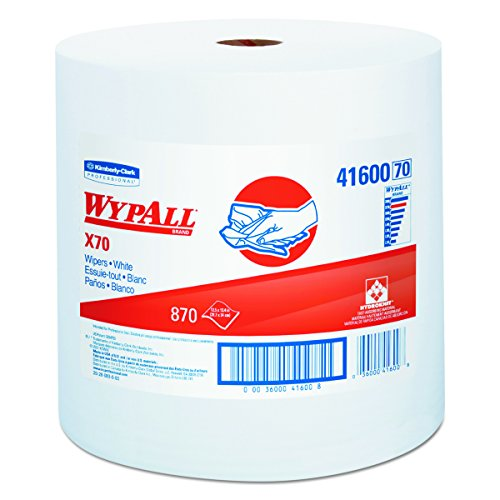 WypAll 41600 X70 Wipers, Jumbo Roll, Perf., 12 1/2 x 13 2/5, White, 870 Towels Per Roll from Kimberly-Clark Professional