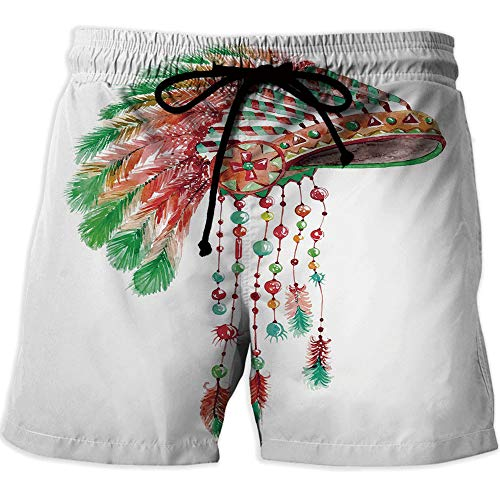 Athletic Shorts Pockets,FeatherPrinted Quick-Drying Swimming Tribal Chief Costume Headdress Native American Culture Ethnicity Symbol Decorative