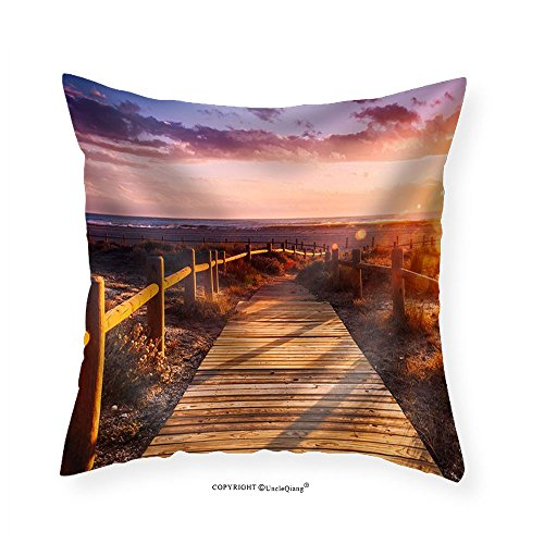 VROSELV Custom Cotton Linen Pillowcase Sunset Beach near Almeria. Cabo De Gata Nijar Natural Park Almer&iacuteA. Spain. Andalusia - Fabric Home Decor 14''x14 by VROSELV