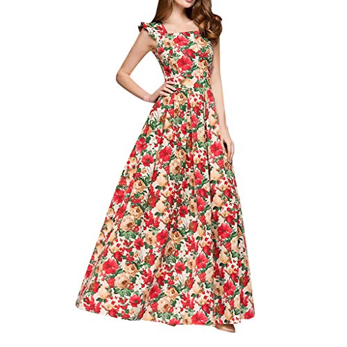 Women Summer Casual T Shirt Dresses, Tronet Women Printing Party Dress Popular Sleeveless Square Collar Sexy Maxi Dress