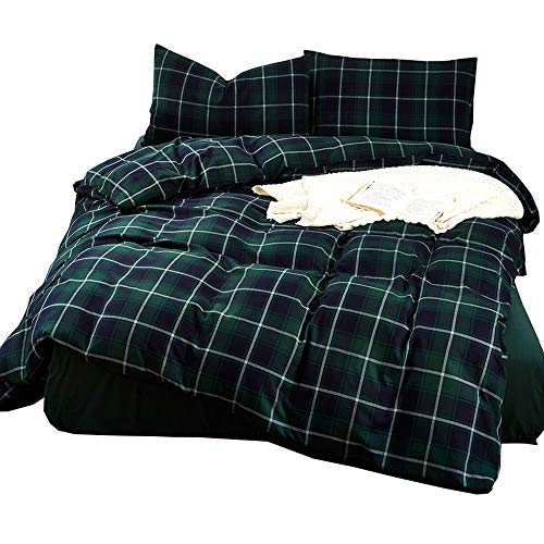 Lightweight Soft Flannel Duvet Cover King Green Plaid Pattern Brushed Cotton Bedding Collection 3 Piece King Set for Boys Girls Men Reversible Modern King Duvet Cover Set with Zipper Comforter Cover (Cover Blue Flannel Duvet Plaid)