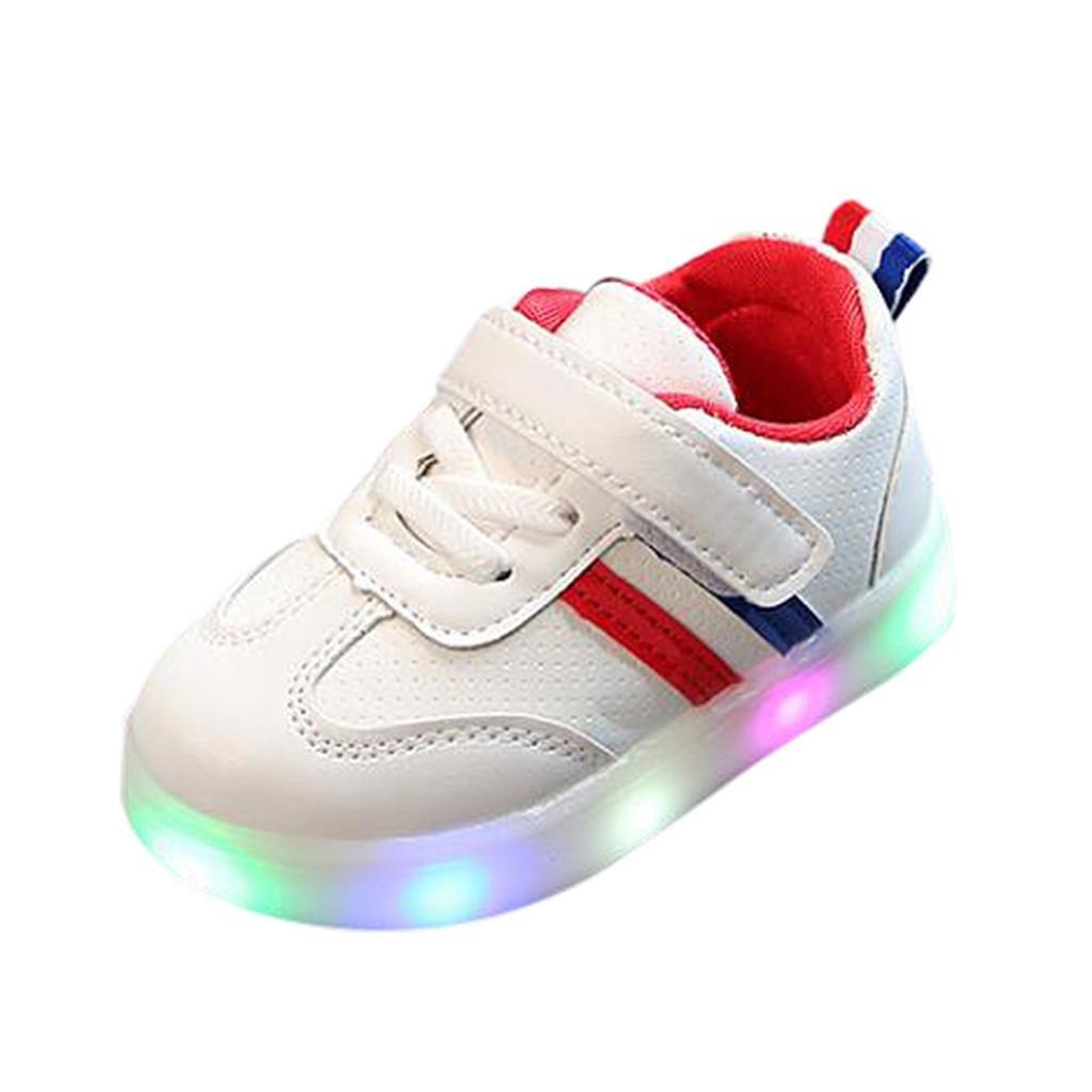 QinMM Kleinkind Kinder Kinder Baby Striped Schuhe LED Leuchten Leucht Turnschuhe