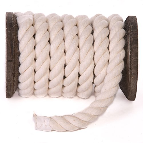 Ravenox Colorful Twisted Cotton Rope   (White)(1 Inch x 250 Feet)   Made in The USA   Custom Color Cordage for Sports, Décor, Pet Toys, Crafts, Macramé & General Use   Rope by The Foot & Diameter by Ravenox (Image #1)