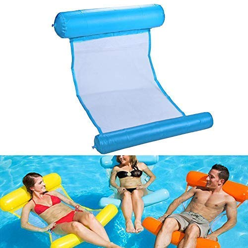 oineke 4-in-1 Multi-Purpose Inflatable Hammock, Outdoor Foldable Water Hammock Swimming Pool Floating Sleeping Bed Air Mattress Foldable Swimming Pool for Adults Kids