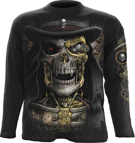 Spiral - Mens - STEAM PUNK REAPER - Longsleeve T-Shirt Black - M (Steampunk Clothing Men)