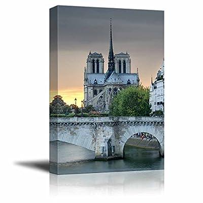 Canvas Wall Art The Notre Dame De Paris and Pont De La Tournelle, Arch Bridge Across River Seine in Paris Home Decoration Stretched Gallery Canvas Wrap Giclee Print & Ready to Hang - 24