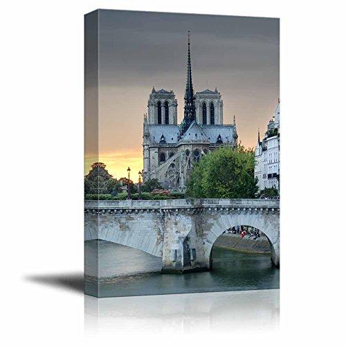 """Canvas Wall Art The Notre Dame De Paris and Pont De La Tournelle, Arch Bridge Across River Seine in Paris Home Decoration Stretched Gallery Canvas Wrap Giclee Print & Ready to Hang - 18"""" x 12"""""""