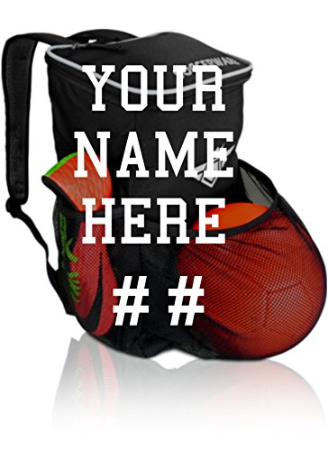 Custom Gear (Custom Personalized Soccer Backpack Ball Holder Compartment Kids Youth Boys & Girls | Bag Fits All Soccer Equipment & Gym Gear (Black) (Custom Personalized))