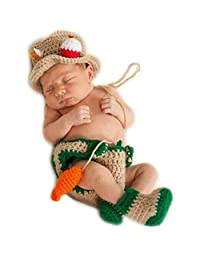 Newborn Baby Photo Props Outfits Crochet Fishing Fisherman & Fish Hat Diaper Shoes