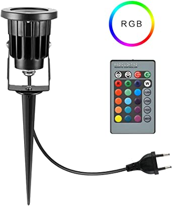 BLOOMWIN Foco Exterior LED Luces de Jardín 8W RGB IP65 Impermeable ...