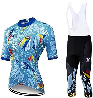 Quskto Trajes de Ciclismo Jersey de Manga Corta Ropa de Bicicleta for Mujer Servicio de Bicicleta Ropa de Bicicleta de montaña Servicio de Bicicleta Ropa de Secado rápido Opcional Tendencias depor: Amazon.es: