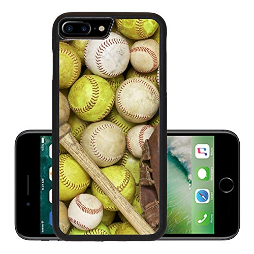 Luxlady Premium Apple iPhone 7 Plus Aluminum Backplate Bumper Snap Case IMAGE ID 4580208 a picture of baseballs softballs a bat and - Equipment Softball Gloves Bats Baseball