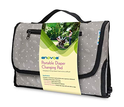 Enovoe Portable Diaper Changing Pad for Baby - Convenient, Durable, Waterproof Travel Changing Mat with Built-in Head Pillow for Your Infant - Grey