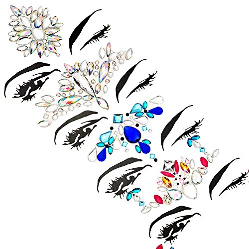 TOODOO 8 Sets Face Gems Rhinestone Colorful Sticker Tattoo Jewelry Stick on Face Festival Jewels for Forehead Body Decorations (Style 1) by TOODOO (Image #3)