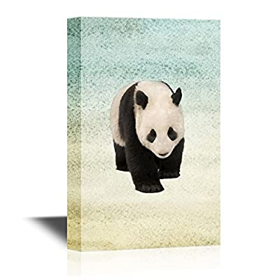 Canvas Wall Art - Cute Panda Walking on Abstract Background - Gallery Wrap Modern Home Art | Ready to Hang - 12x18 inches