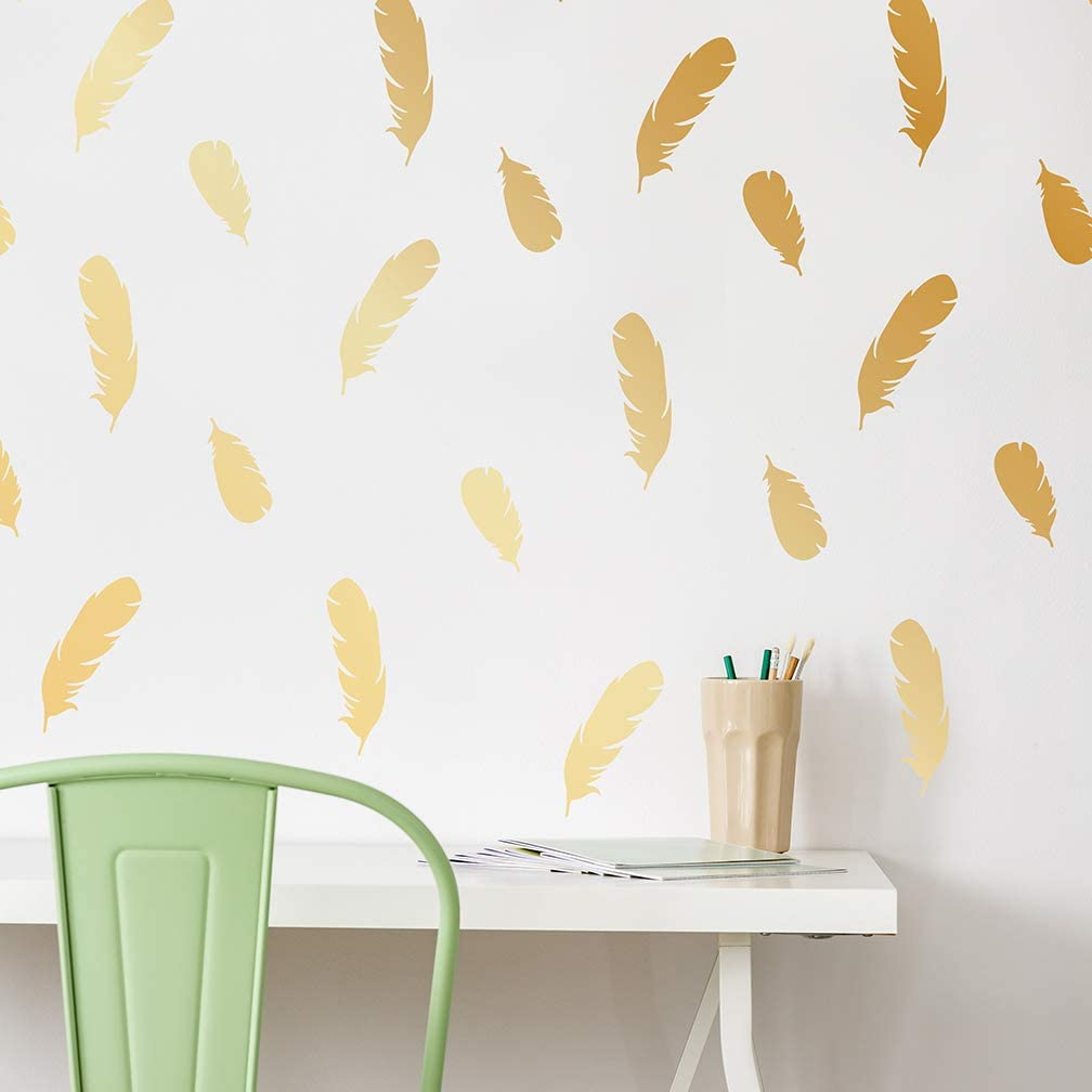 Peel and Stick Wall Decals - Beautiful Gold Feather Decals Let You Be The Designer of Your Space! by Paper Riot