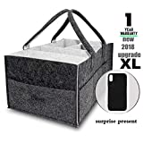 Baby Diaper Caddy Organizer, Large Portable Car Travel Diaper Caddy Organizer, Nursery Storage Bin with Changing Table Pad, Baby Shower Gift Basket for Boy Girl, Dirt-Resistant Black & Grey