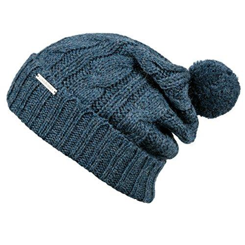 LUNA & TERRA - MESSINA Hat Beanie Hand Knitted 100% BABY ALPACA (Steel Blue)