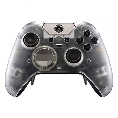 eXtremeRate Transparent Clear Replacement Faceplate Front Housing Shell with Thumbstick Accent Rings for Xbox One Elite Remote Controller Model 1698 - Controller NOT Included