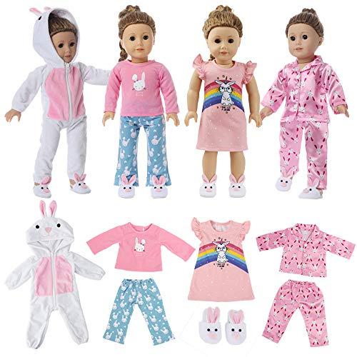 6PC 여자 인형 옷을 잠옷을 위해 미국 18 인치 인형 옷과 부속품-4 세트의 토끼가 잠옷 흰색이 포함되어 있 ONESIE 핑크 매끄러운 파자마 핑크색 잠옷 핑크색 PJS 맞는 나의 생명형