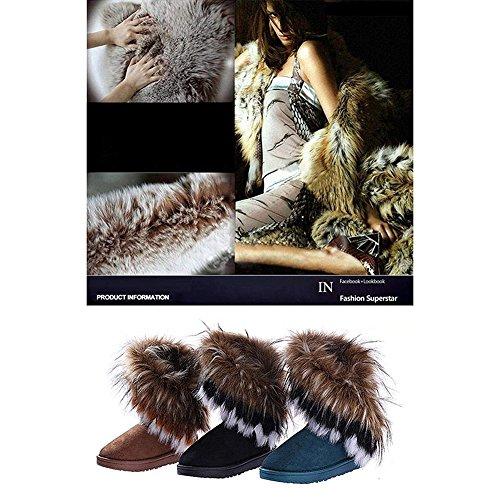 Mujer Retro Botas - hibote Martin Botas Invierno Nieve Lazada Zapatos Botas de Trabajo negro
